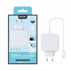 MTK CARGADOR DE PARED A USB TIPO C 3A 45W BLANCO 1.2M AT805