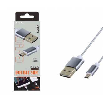 CABLE USB 2.0 TIPO A-B USB MACHO ---> MICRO USB MACHO DE 1M REVERSIBLE GRIS K3371