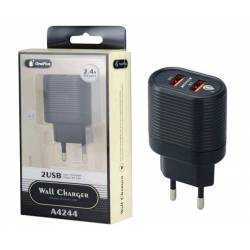 CARGADOR USB STOOL RED KRIS A4244 ENCHUFE PARED 2*2.4A CON USB HEMBRA NEGRO ONE+