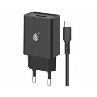 CARGADOR USB + CABLE MICRO USB 2.4A A6173 BASIC WILSON NEGRO
