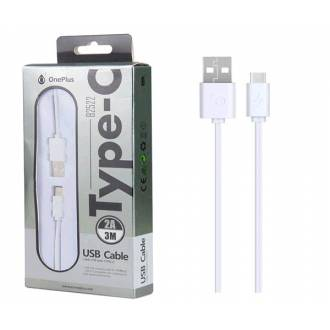 CABLE DATOS USB 2.0 A TYPE-C 2A BLANCO 3 METROS ONE+ B2522