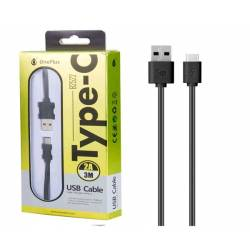 CABLE DATOS USB 2.0 A TYPE-C 2A NEGRO 3 METROS ONE+ B2522