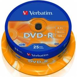 VERBATIM DVD ROM DVD-R 4.7GB 16X TARRINA 25 UDS / PRECIO UNITARIO