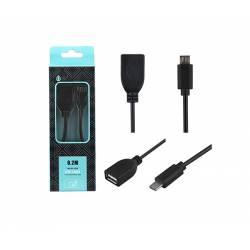 CABLE ADAPTADOR USB A HEMBRA ---> USB B MICRO MACHO OTG 20 cm
