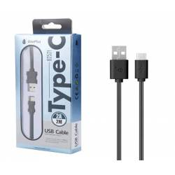 CABLE DATOS USB 2.0 A TYPE-C 2A NEGRO 2 METROS ONE+