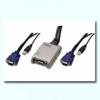 DIGITUS CONMUTADOR COMPACTO KVM USB 2x1