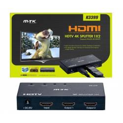 SPLITTER HDMI 4K 1X2 METALICO CON FUENTE DE ALIMENTACION
