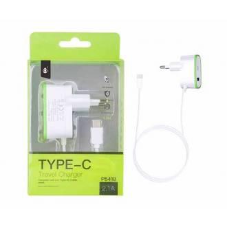 CARGADOR DE PARED A USB TIPO C + USB HEMBRA 2.1A